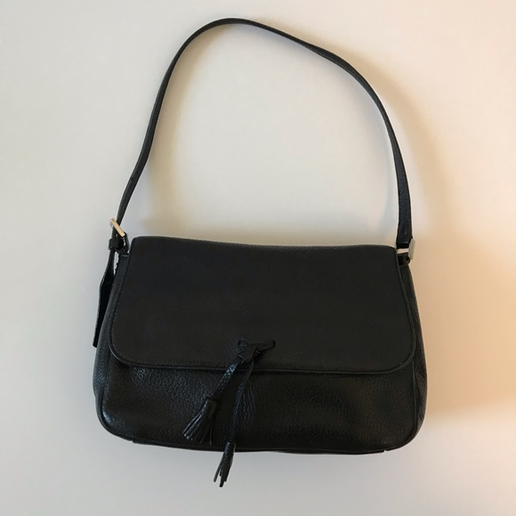 Ann Taylor Handbags - Ann Taylor Black Leather Tassel Handbag Purse